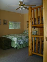Crystal Mountain, Thompsonville cottage photo - Master bedroom with slider out to Hot Tub; one queen bed and a twin bunk bed