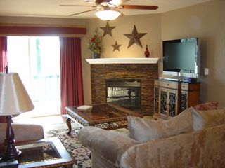 Branson condo photo - Living room with slate stone fireplace