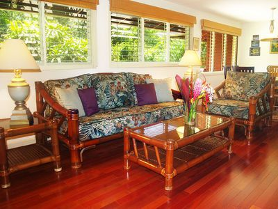 Hanalei house rental - Riverhouse: Quality furnishings and fine art give each home comfortable feeling.