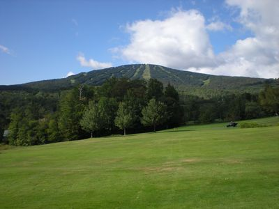 View of Stratton Mountain in the summer from the Stratton Golf Course