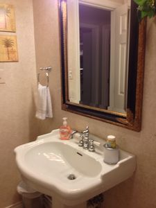Rockport house rental - 2nd guest bathroom's elegant sink. Bathroom also has combination bathtub/shower