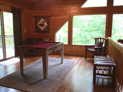 Loft area has flip-over air hockey/pool game table & opens out to back deck.