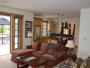 Sun Valley condo rental - Living room, kithen and view out to the deck. Best summer spot in the valley!