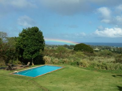 Hawaiian Rainbow going right over our pool. The energy on this property is bliss