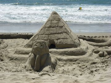 Sand Sphinx fun at Solana Beach