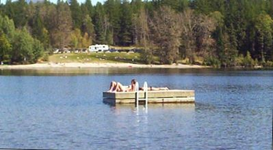 Private swim platform anchored on the lake - canoe supplied