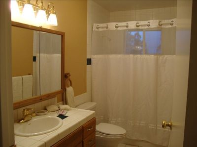 Bathroom two in hall on main level, note open panel in shower curtain for light