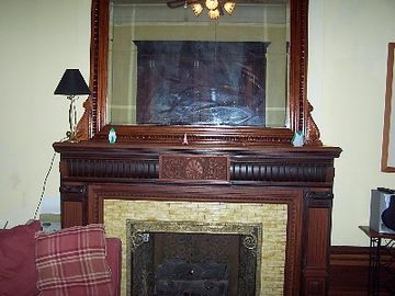Looking west: fireplace