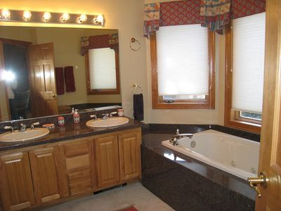 extra large master bath- great light and nice moutain views