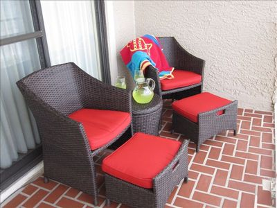 Kick back on comfy balcony chairs!