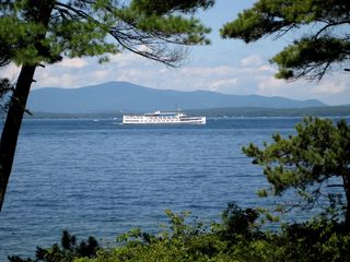 Out front....as the Mount Washington passes by... - Alton house vacation rental photo