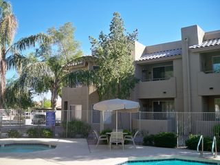 Chandler condo photo - Heated pool & hot tub area. Balcony overlooks pool area.