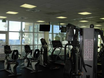 State of the art fitness center with view of the gulf.