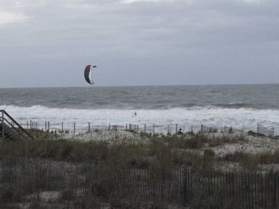 This is a kite surfer that was enjoying our beach