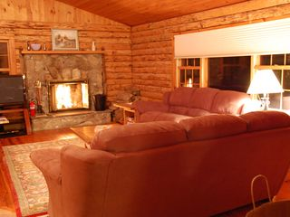 Great Barrington cabin photo - Cozy Fireplace in the kitchen/livingroom