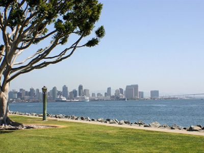 Walking & bike trails along the harbor at Harbor Island Park, across from marina