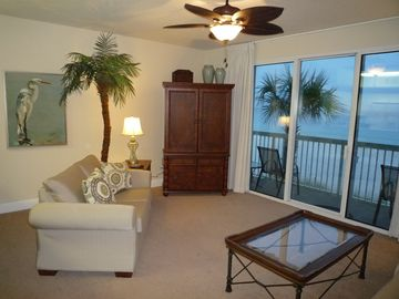 Celadon Beach Resort condo rental - The Large Family Room is Directly on the Gulf... This is the best view in town.