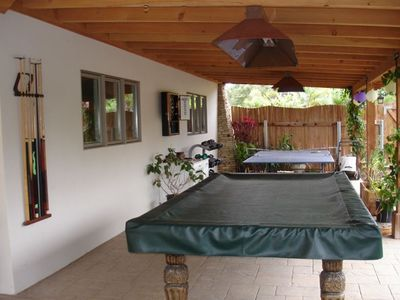 Lower Patio - Pool Table, Ping-Pong, Darts and Bocce Ball on other side of fence