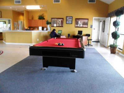 Pool table and computer with internet access at the clubhouse.