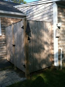 New oversized outside shower. Always a favorite after the beach!