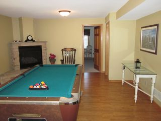 Galena house photo - Lower Level Family Room with Pool Table and Fireplace