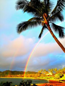 Rainbow over the Wailua Bay from our beach