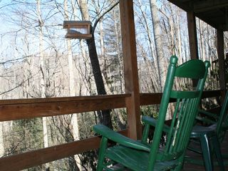 Maggie Valley cabin photo - Relax and enjoy the view from the deck; listen to the nearby creek