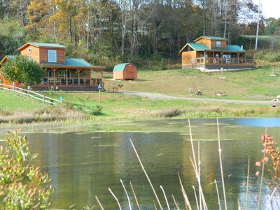 two cabins on the stocked pond works great for large groups