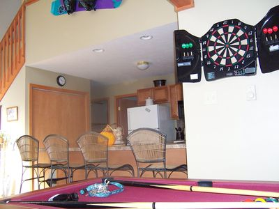 Pool/Air Hockey table, dart board...good times!