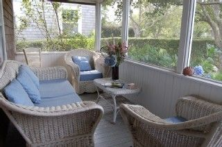Siasconset house photo - Front porch, wicker couch, 2 chairs, dining table