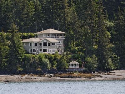 Our home, the AKNS Suite, gazebo and beach from Auke Bay.