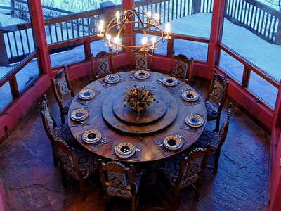 Camelot - View of Dining Room table from balcony above