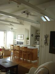 Union Pier cottage photo - Open consept. Kitchen counter-bar. Track lights, ceiling fans, centra air