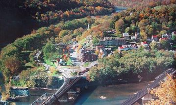 view of Harpers Ferry from Maryland Heights hike