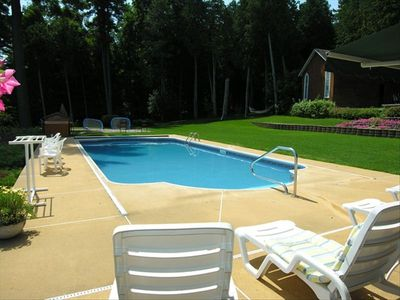 "Willsboro estate rental - 45' heated Pool with no Chlorine ""Bioguard"" system. Hard cover Horizontal fence"
