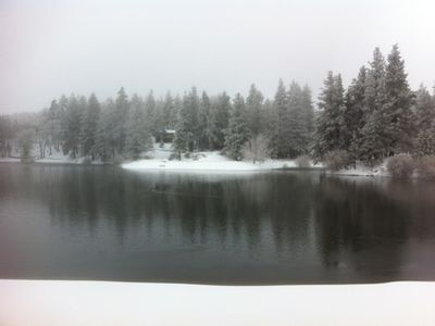 A beautiful snowy shot of Green Valley Lake in the winter.