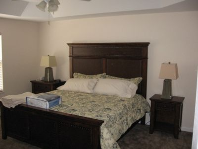 Master suite has king size bed; oversized bath and closet