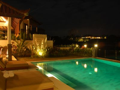 Night view over the pool