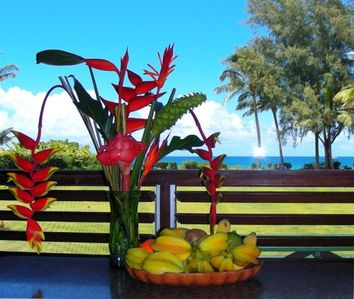Fruit, flowers, ocean; got the feeling it could be tropical paradise?