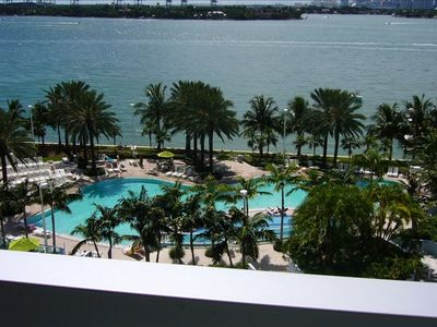 Miami Beach condo rental - South tower Pool - view from unit