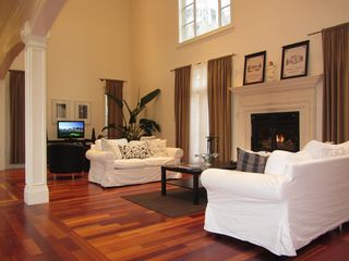 Staten Island house photo - Living Room w/ Wood Burning Fireplace & Flatscreen TV