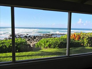 Haleiwa cottage photo - Breath taking views of the Ocean & garden from living room & Screened in Lanai
