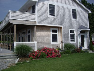 Groton cottage rental - Pine Island Road with roses in bloom