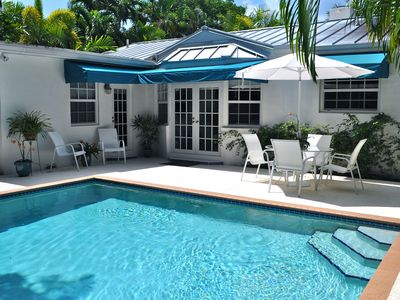 Coconut Grove house rental - Heated Pool, French Doors to Dining/Living Room