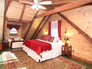 Massanutten house photo - Master king bedroom with soaring beams and luxury pillowtop mattress