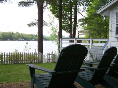 Enjoy the view from the Adirondack chairs