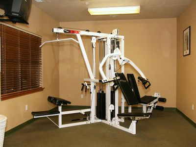 Weights in the fitness room near the indoor pool.