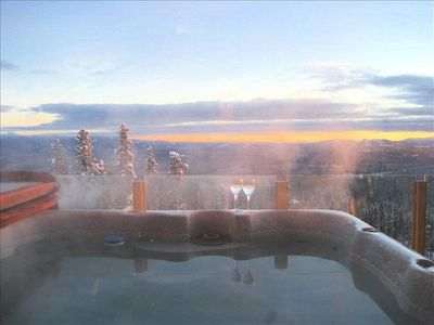 private 8 person hot tub overlooking Monashee Mountain Range and Hummingbird Run