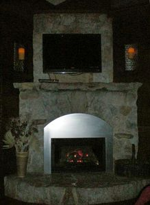 Gas fireplace keeps the house nice and toasty.
