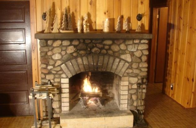 cabin with fireplace and our original swinging beds